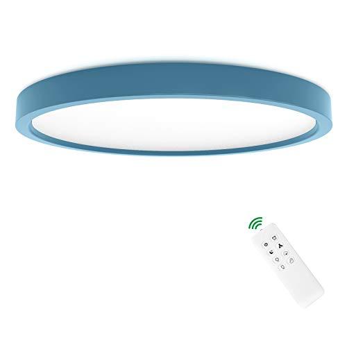 Anten plafones para techo Leo | 24W con mando a distancia | 3 colores de luz + luminosidad regulable | Ø30cm redondo | 2,5cm plano | lamparas de techo azul para habitacion infantil.