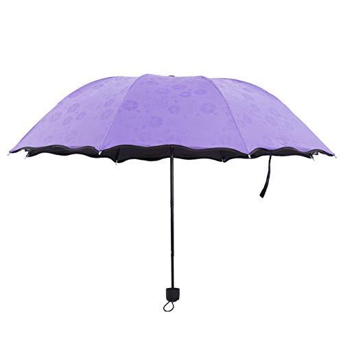 XdiseD9Xsmao paraplu, robuust, licht, drievoudige paraplu, inklapbaar, met bloemenpatroon Azul
