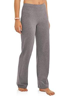 Athletic Works Women's Bootcut Fit Dri-More Core Cotton Blend Yoga Pants, Charcoal, M Petite