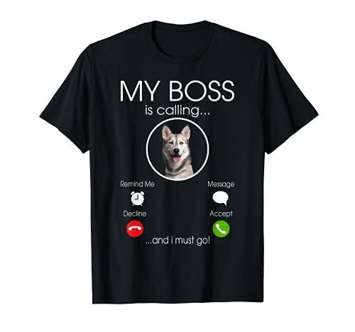 My Boss Is Calling - Siberian Husky razza cane amanti regalo Maglietta
