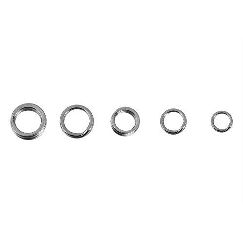 Cocoarm Edelstahl Split Ring, Edelstahl Sprengringe Strong Splitring mit 5 Verschiedene Größen für Angeln Fischen zur Süßwasser & Salzwasser geeignet (200 Stück/Box)