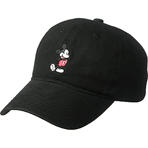 Disney Mickey Mouse Baseball Hat, Washed Twill Cotton Adjustable Dad Cap