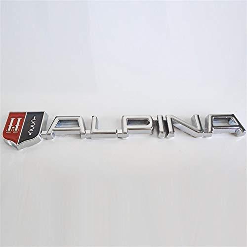 3D Metall Alpina Car-Styling Trunk Rück Aufkleber Abzeichen for BMW Alpina Logo E46 E39 E90 E60 E36 F30 X5 E53 F10 E34 (Color Name : Silver)