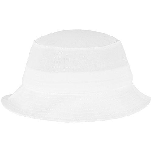 Flexfit Cotton Twill Bucket Hat - Unisex Anglerhut für Damen und Herren, einfarbig, mit patentiertem Flexfit Band, Farbe Weiß, one size