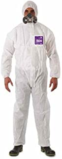 Ansell Healthcare WH15-S-92-100-02 MICROCHEM by AlphaTec Series 1500 Coverall with Collar, 2-Way Front Zipper with Storm-Flap, Small, White (Pack of 25)