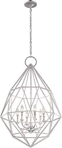Feiss F2942/6SLV Marquise Cage Chandelier Lighting, Silver, 6-Light (25