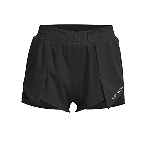 Pantalones Cortos Deportivos antideslumbrantes de Dos Piezas Falsos Sueltos de Verano para Mujer, Pantalones Cortos Deportivos Informales Transpirables para Yoga, Entrenamiento físico, para X-Large