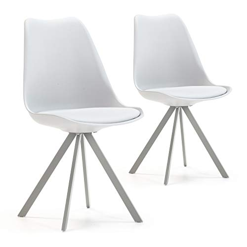 VS Venta-stock Set de 2 sillas Comedor Cross Estilo nórdico Gris, certificada por la SGS, 54 cm (Ancho) x 49 cm (Profundo) x 84 cm (Alto)