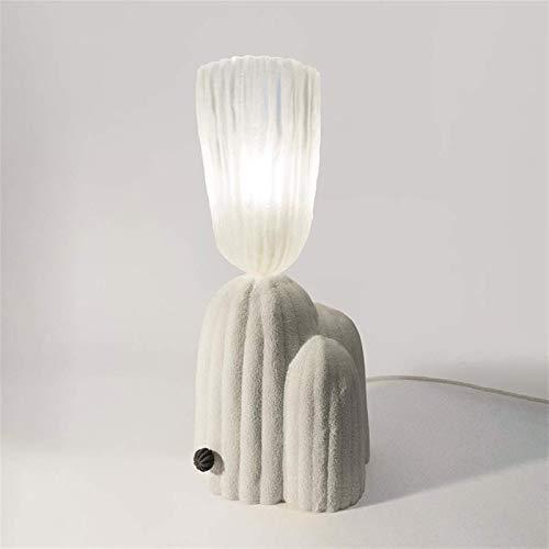 OERTUFU Lámpara de Escritorio Lámpara de Mesa, lámpara de Dormitorio Simple, lámpara de Noche de Cactus, Adecuada para Sala de Estar, Estudio, Dormitorio (Color:Blanco, Tama?o:luz Blanca) (Color:lu