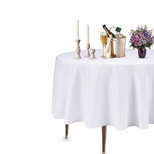 Trimming Shop Nappe Ronde, Housse de Table en Coton Polyester 90 Pouces, Nappe en Lin en Tissu pour Table à Manger, Housse de Table de Cuisine Lavable pour Restaurant, Mariage, fête, Blanc, 1 pièce