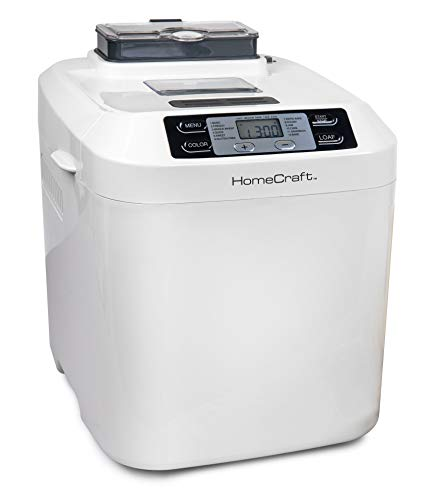 HomeCraft HCPBMAD2WH Bread Maker with Auto Fruit & Nut Dispenser Makes 2 Lb. Loaf Size, 3 Crust Options, 12 Programmable Settings, White