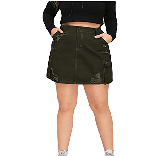 ERTYUIO Women's Athletic Skorts Pockets Patchwork Holes Ripped Skirts-A_XL