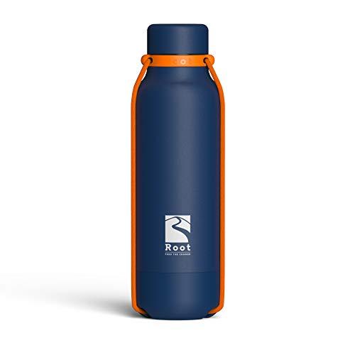 Root-FTC Edelstahl Trinkflasche/Wasserflasche mit Deckel in 10 n - 530ml - Thermo Isolierflasche für jedes Getränk, Heiß & Kalt (~24 h) - Trainingsflasche Blau