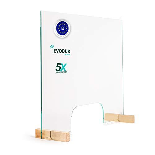 Glas Expert Spuckschutz mit Durchreiche aus 6mm ESG-Sicherheitsglas, Virenschutz Hustenschutz Niesschutz - Tischaufsatz 60cm Höhe 75cm Breite