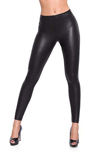 FUTURO FASHION® - Leggings im Wet-Look - sexy - knöchellang - Mattschwarz - alle Größen - **HQ** - 36