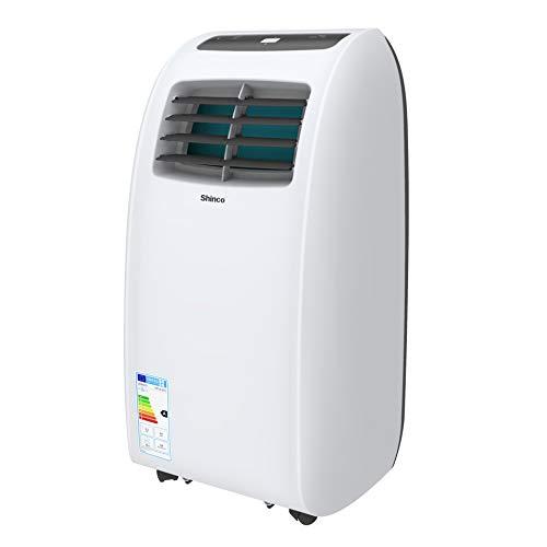 SHINCO 2 kW 7000 BTU Aire Acondicionado Portátil, Enfría, Ventila y Deshumidifica, Mando a Distancia, Blanco, hasta 25 m²