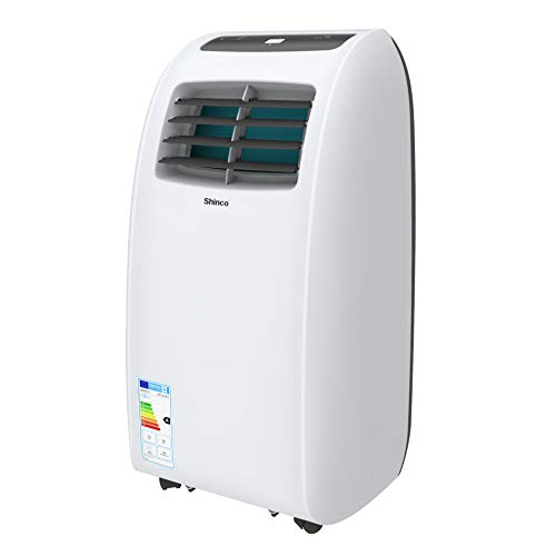 SHINCO 7000 BTU climatiseurs Mobiles - Déshumidificateur, Ventilateur, conditionneurs Portables, Écran LED, Set Isolation fenêtre, télécommande, Tuyau d'évacuation, Eco R290 (Classe énergétique A)