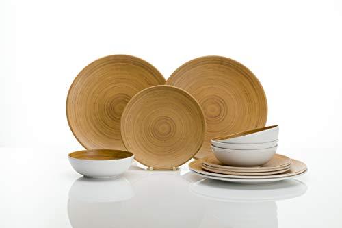 Flamefield Vajilla de melamina de 12 piezas para 4 personas, aspecto de bambú.