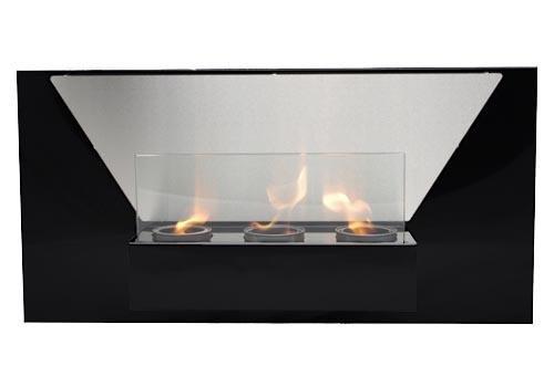 Gel y etanol chimenea Jasmin Deluxe Negro chimenea de pared chimenea de acero + vidrio de seguridad