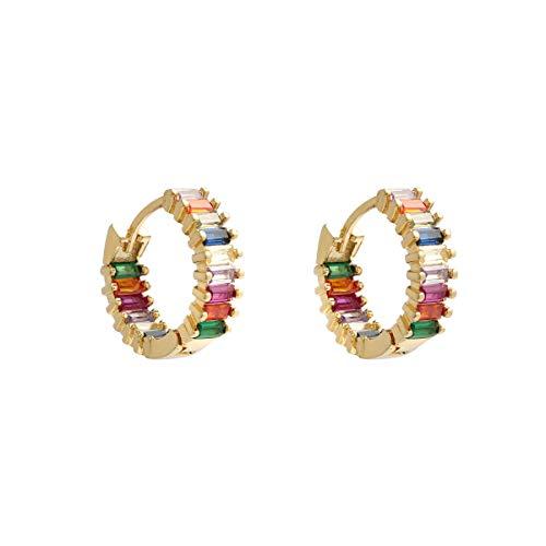 Damen Creolen Klein Regenbogen-18K Vergoldet Ohrringe - Handgepflasterte bunte Zirkonia-Steine -Premium-Design Damen Modeschmuck