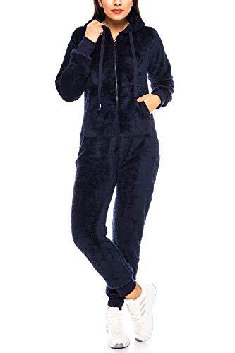 Crazy Age Damen Jumpsuit aus kuscheligem Teddy Fleece | Overall | Ganzkörperanzug Flauschig |Homewear (Nevi, 4XL~48)