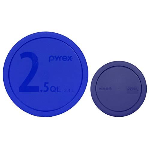 Pyrex (1) 325-PC Blue 2.5qt (1) 322-PC Blue 1qt Mixing Bowl Lids - 2 Pack