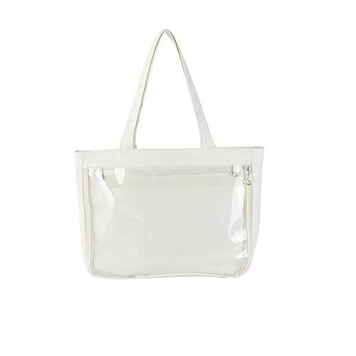 Ita Tote Bag Clear Window for Pins Ita Shoulder Bag Handbag Anime School Bag DIY, Cosplay, Comic Con White Size: 1