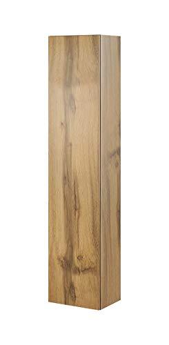 Furniture24 Hängeschrank Vigo 180, Vitrinenschrank, Wandschrank, 1 Tür Schrank mit 4 Einlegeboden, Farbauswahl, Stauraumvitrine, Hochschrank, Wohnzimmerschrank, Modernes Vitrine (Wotan Eiche)