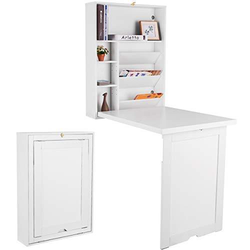 COSTWAY Wandtisch klappbar, Wandklapptisch mit 2 höhenverstellbaren Regalen, Bartisch Holz, Computertisch mit Stauraum, Tisch ideal für Küche, Wohnzimmer, Arbeitszimmer und Bar (weiß)