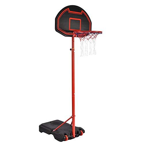 Honganrunli Basketballkorb mit StäNder Outdoor Indoor, 1,6-2,1m HöHenverstellbarer Tragbarer BasketballstäNder mit RäDer und 75x45Cm RüCkwand FüR Kinder Erwachsene Familie