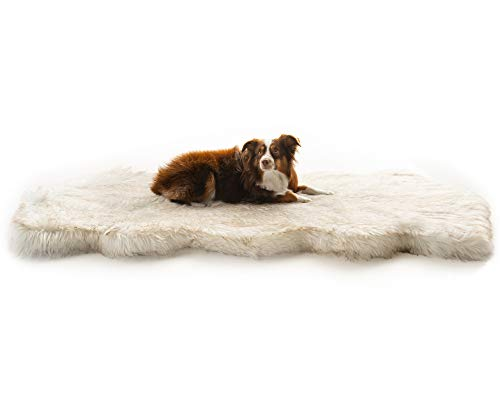 Treat A Dog Puprug Runner Faux Fur Memory Foam Orthopedic Dog Bed PressureRelieving Memory Foam Minimize Joint Pain and Improve A Dog Health and Mobility Curve White