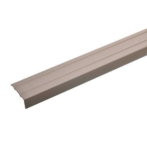 acerto 32014 Aluminium Stufenkanten-Profil - 100cm x 24,5mm – Bronze hell * 10mm Höhe* Rutschfest * Robuster Kantenschutz | Gelochtes Treppenkanten-Schutzprofil für Laminat, PVC | Rutschhemmend Alu