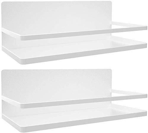Paquete de 2 estantes magnéticos para Nevera, Estante para Especias, Estante para refrigerador para Organizador de Cocina, Estante Organizador de Cocina, fácil de Usar, Blanco