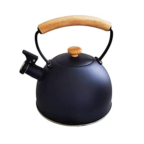 LZYANG Hervidor de acero inoxidable de 2,5 litros hervidor silbante retro tetera para cocina de inducción cocina de gas hervidor doméstico con asa de seguridad de madera (negro)