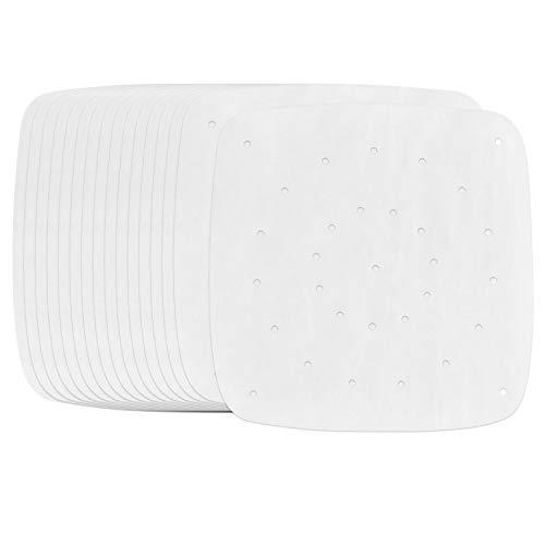 Chstarina 200 Feuilles Papier de Cuisson Papier Sulfurisé Carré 19×19 cm Papiers à Vapeur Antiadhésif Papier Parchemin pour Vapeur de Bambou Cake de Cuisine Air Frying Baking Barbecue
