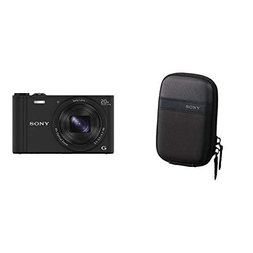 Sony DSC-WX350 Digitalkamera (18 Megapixel, 20-Fach Opt. Zoom, 7,5 cm (3 Zoll) LCD-Bildschirm, NFC, WiFi) schwarz und LCS-TWP/B Kameratasche für DSC W/T-Serien schwarz