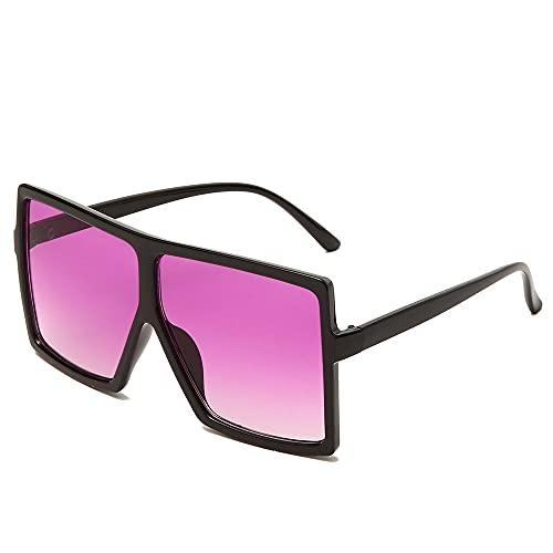 DGSDFGAH Gafas De Sol Mujer Gafas De Sol Polarizadas para Hombres/Mujeres Retro Moda Unisex Gafas De Sol Cuadradas Extragrandes De Moda En Negro Y Morado Señoras