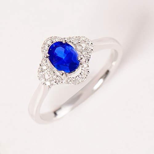 TIANRAO 1.1 Joyas de Piedras Preciosas con Incrustaciones de Diamantes de Zafiro Azul con Incrustaciones de Piedras Preciosas Azules de CT,23(20.4mm)