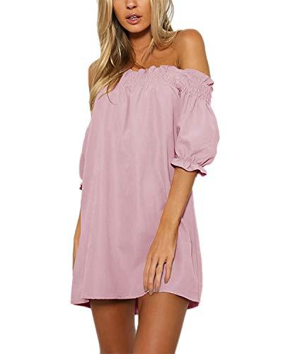 YOINS Vestido de verano para mujer, corto, hombros descubiertos, manga larga, sexy, floral, vestido de playa, B-rosa., L
