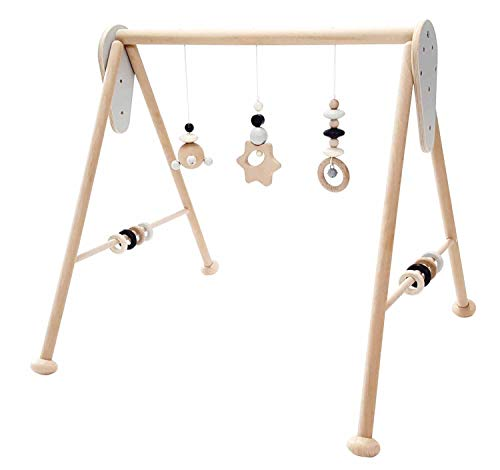Hess Holzspielzeug 10128449 Babyspielgerät Stern, Spielbogen aus Holz mit Figuren und Rasseln, für Babys ab 0 Monaten, nature schwarz, ca. 60 x 58 x 55 cm, schwarz, 1400 g