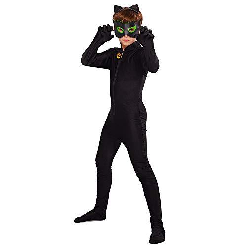 URAQT Cat Noir Kostüm Set, Cartoon Miraculous Cat Noir, Set Jumpsuit Augenmaske Ohr Gürtel Schwanz Schwarz, Jungen Kostüm Jumpsuit Kinder Halloween Karneval Schwarz Overall Cosplay Faschingkostüme L