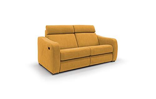 HOMIT ITALIAN HOME INTERIORS Sofá reclinable de 2 o 3 plazas con mecanismo de relax eléctrico, modelo Gummy, de tela de terciopelo suave, impermeable y desenfundable, fabricado en Italia (2 plazas)