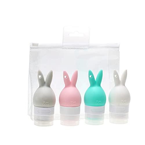Montloxs 4 Uds Botellas de Viaje de Silicona a Prueba de Fugas, contenedores de Viaje Recargables de 30 ml, contenedores exprimibles para champú, loción, jabón