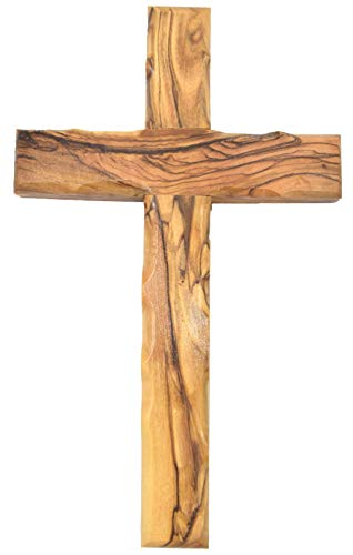 Zuluf Wall Hanging Olive Wood Cross | Hand Carved Cross | Olivewood Christian Wall Cross with Holy Land Certificate | Ideal Gift for Home Decoration, Weddings and Home Office 20cm / 7.8' CRS051