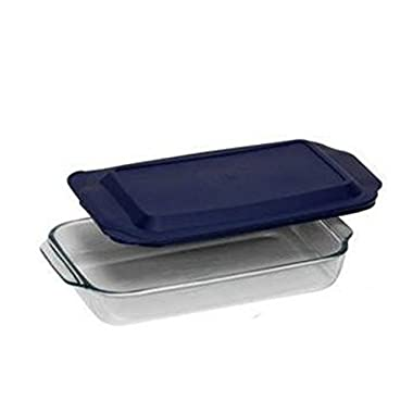 PYREX 3QT Glass Baking Dish with Blue Cover 9  x 13  (Pyrex)