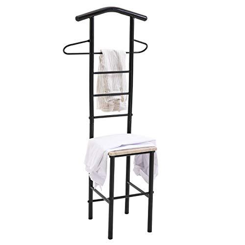CARO-Möbel Herrendiener JIVO Stummer Diener Kleiderständer, Metallgestell schwarz und Ablage in Sonoma Eiche, 121 cm, Garderobe mit Hosenbügel