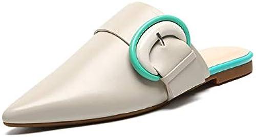 HommesGLTX Talon Aiguille Talons Hauts Sandales 2019 Plus Récent en Cuir Véritable Femmes Pantoufle Bout Pointu en Dehors De L'été Chaussures Boucle Confortable Talons Bas Chaussures Femme