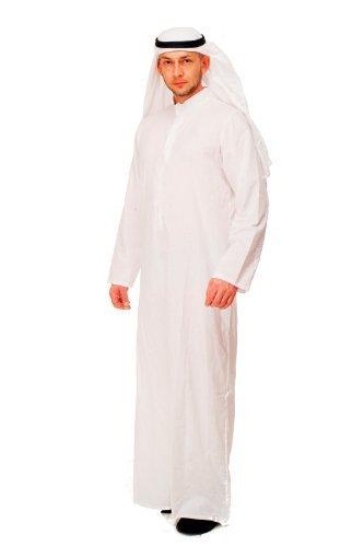 DRESS ME UP Kostüm Herrenkostüm Scheich Sheik Mittlerer Osten Saudi Emir Araber Kaftan Thawb Dischdascha K48 Gr. 48, M