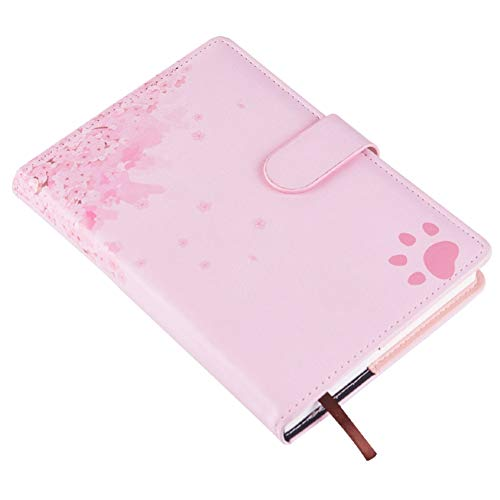 WINON Notebook,Cuaderno, Libro de Diario Flores de Cerezo Rosa A5 Planificador de Hojas Sueltas Cuaderno de Cuero sintético Diario Papelería Útiles Escolares (Color : Pink, tamaño : A)