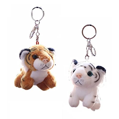 ABOOFAN 2Pcs Plüsch- Schlüsselanhänger Stofftier Tiger Spielzeug Weiche Tier Charme Schlüsselring Nette Keychain Für Kinder Tasche Geldbörse Rucksack Handtasche